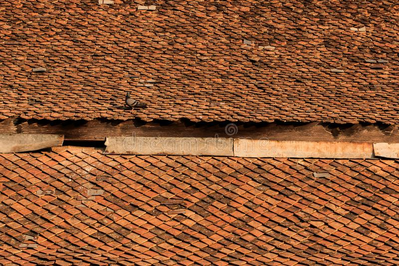 Old clay tiles on the roof. Of the Thai temple stock photos