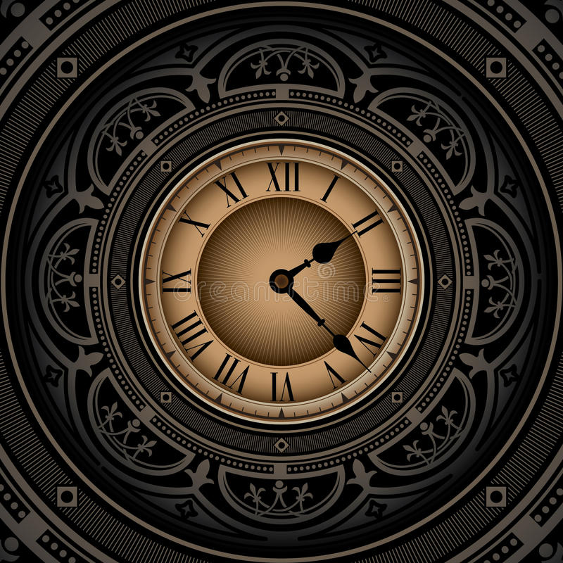 Download Old clock. stock vector. Illustration of branch, decoration - 18053335