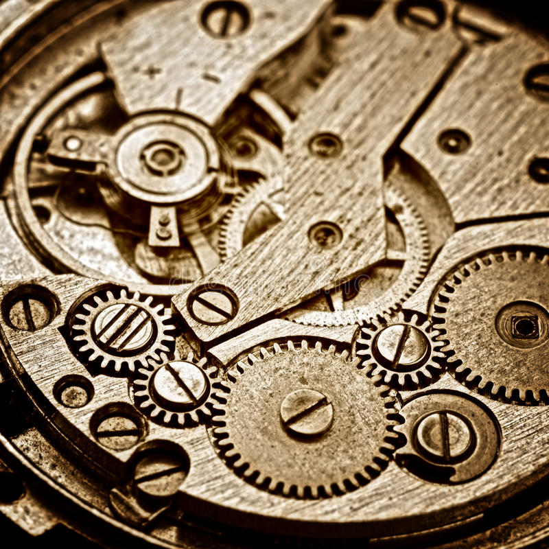 Old clock. Rusty mechanism in the old clock royalty free stock photo