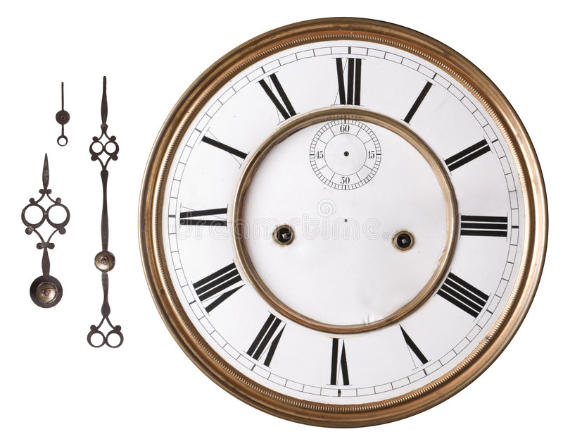 Old clock. Old clock face and hands isolated on white stock image