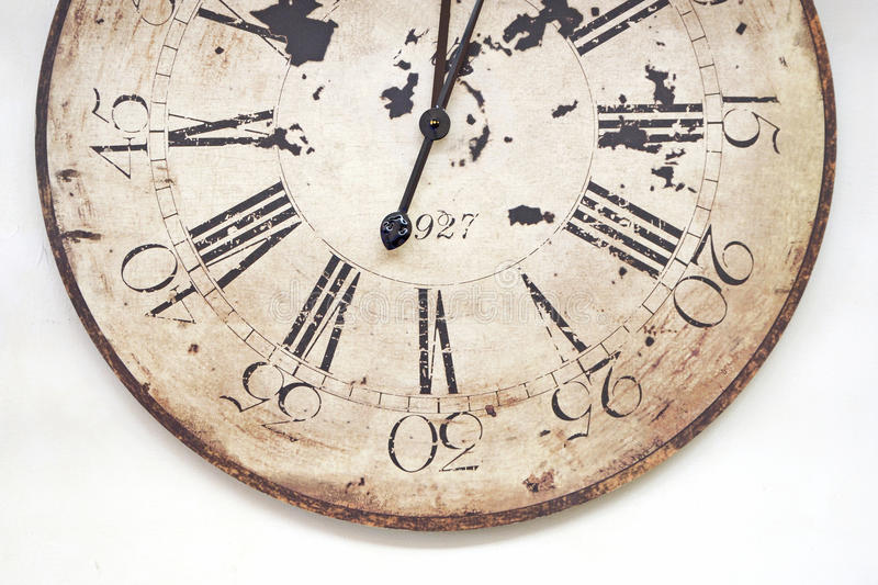 Old clock. Clostup a old clock on white blackground royalty free stock images