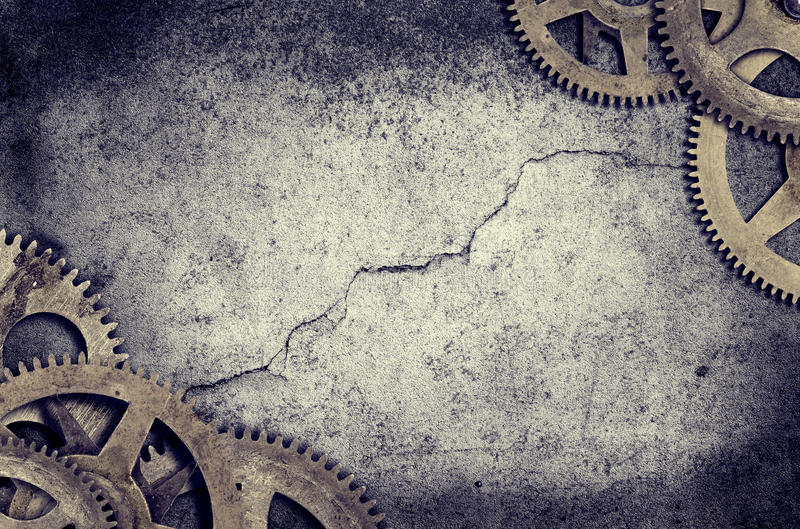Old Clock Cogs Border stock image