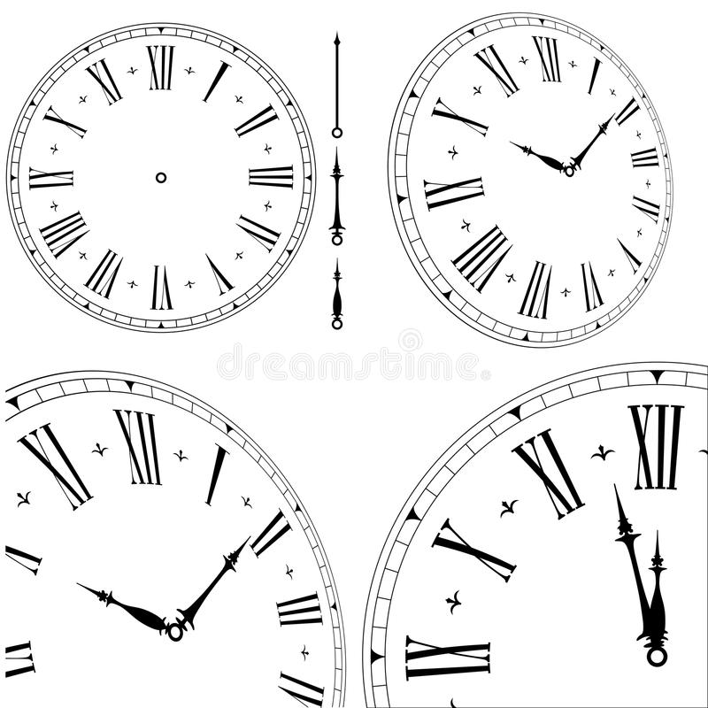 Old clock face. Illustration of an old clock face with different angles and hand positions stock illustration