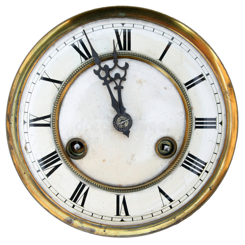 Free Old Clock Face Isolated Stock Image - 6120421