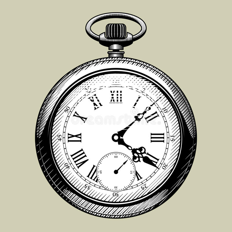 Old clock face. Retro pocket watch. Vintage engraving stylized drawing. There is in addition a vector format EPS 8 royalty free illustration