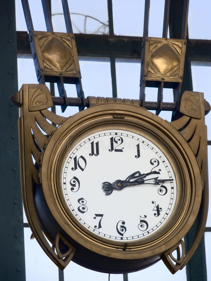 Old clock in a factory stock photo
