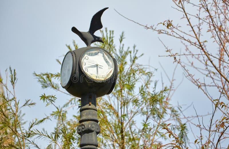 Old Clock Lamp Post royalty free stock image