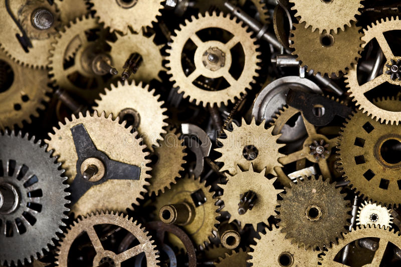 Old Clock Gears : Old clock machine stock image of gear group