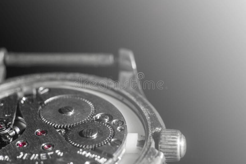 Old clock mechanism close-up, back and front background blurred. Old clock mechanism close-up, back and front background blurre stock image