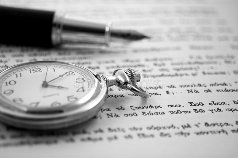 Download Old clock and a pen stock image. Image of hours, antique - 1224685