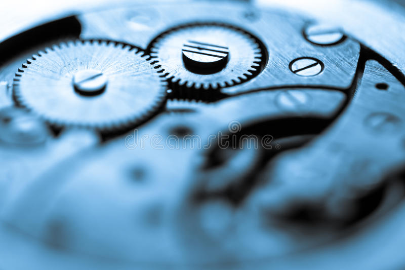 Old clock's gears. Close up view of old clock's gears stock photography
