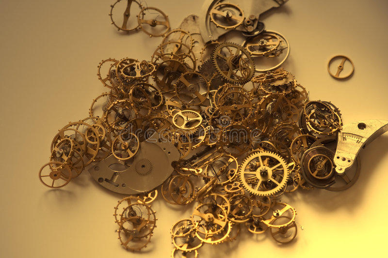 Old clock's parts - I. Image of a old clock's parts stock photos
