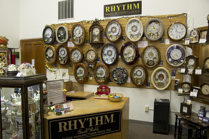 Old clock shop stock image