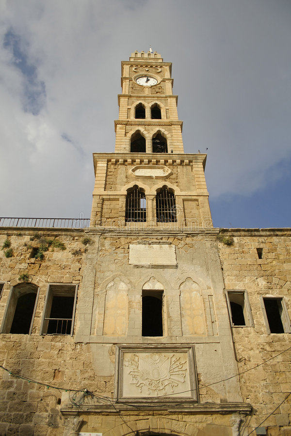 Old clock tower akko stock image