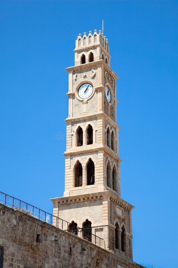 Old clock tower Akko , Acre, Israel stock photo