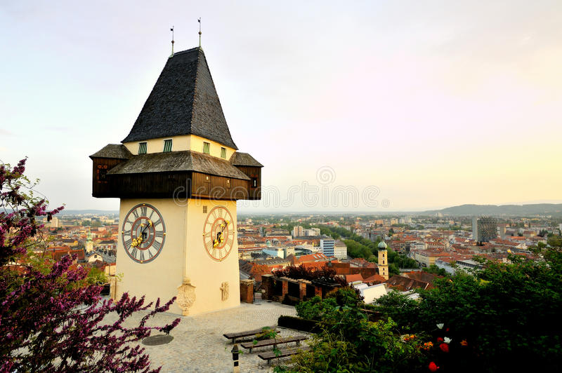 Old clock tower in the city of Graz, Austria