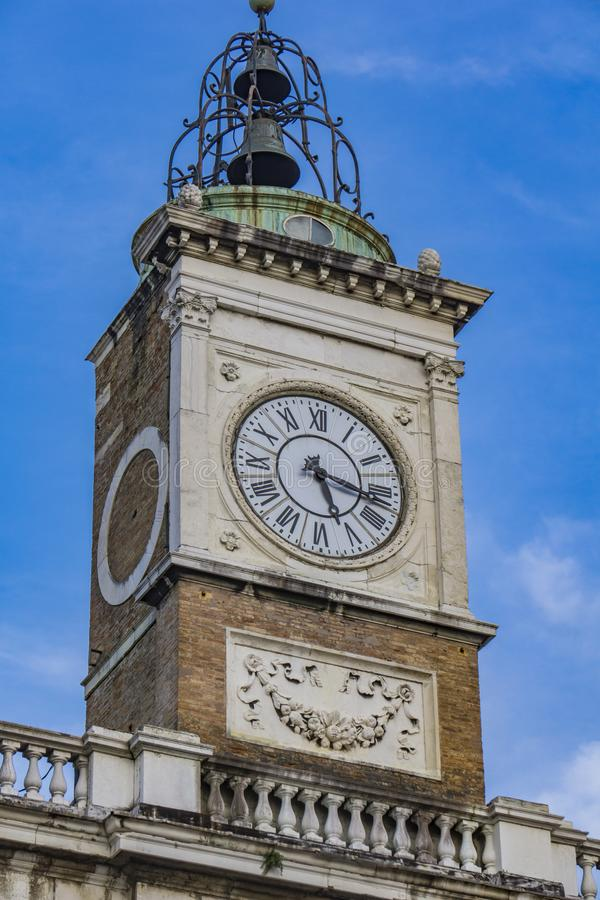 Old clock tower at Piazza del Popolo in Ravenna. Italy royalty free stock photo