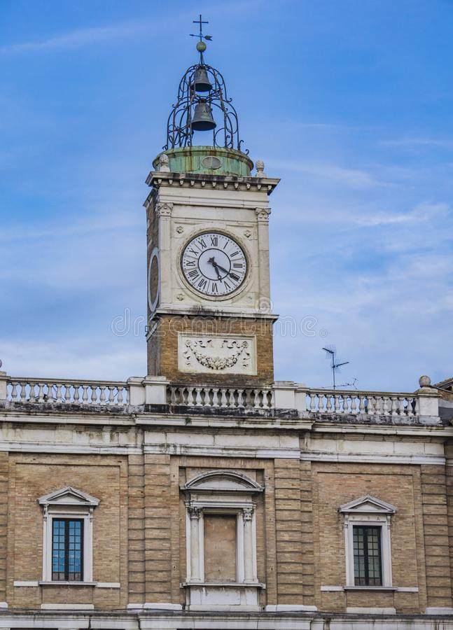 Old clock tower at Piazza del Popolo in Ravenna. Italy royalty free stock photography