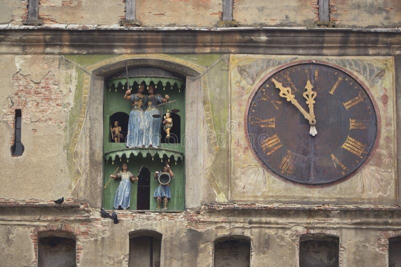 Old clock tower, Sighisoara, Romania royalty free stock photo