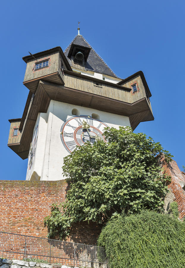 Old clock tower Uhrturm in Graz, Austria. Old clock tower Uhrturm on Schlossberg fortress in Graz, Austria royalty free stock photo