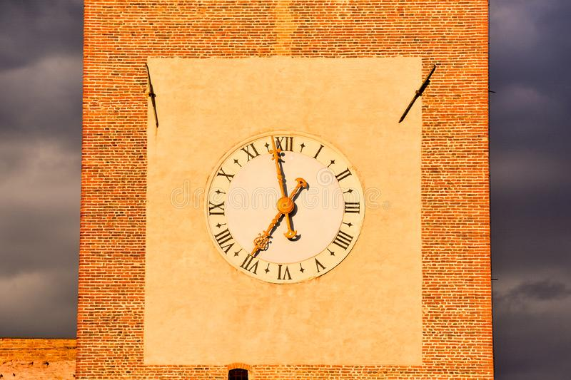 old clock on wall, digital photo picture as a background stock photo