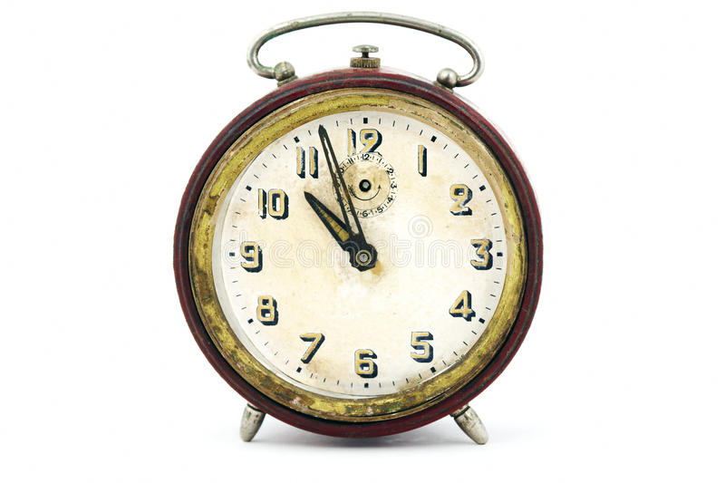 Old clock on white background. Old vintage clock on white background stock images