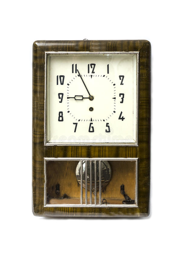 Old clock. On a white background royalty free stock photos