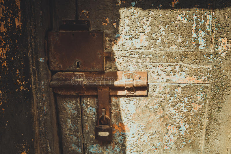 old closed door of prison royalty free stock photography