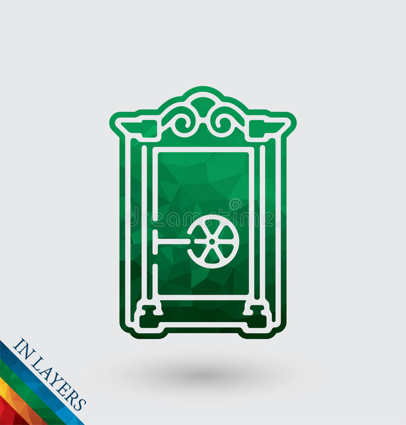 Old Closed safe vector illustration. stock illustration