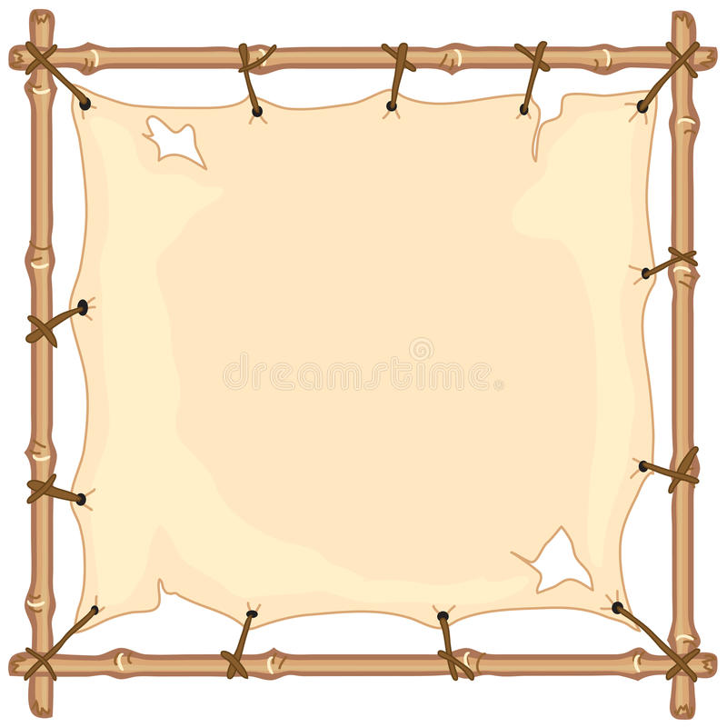 Old cloth banner on bamboo frame stock illustration