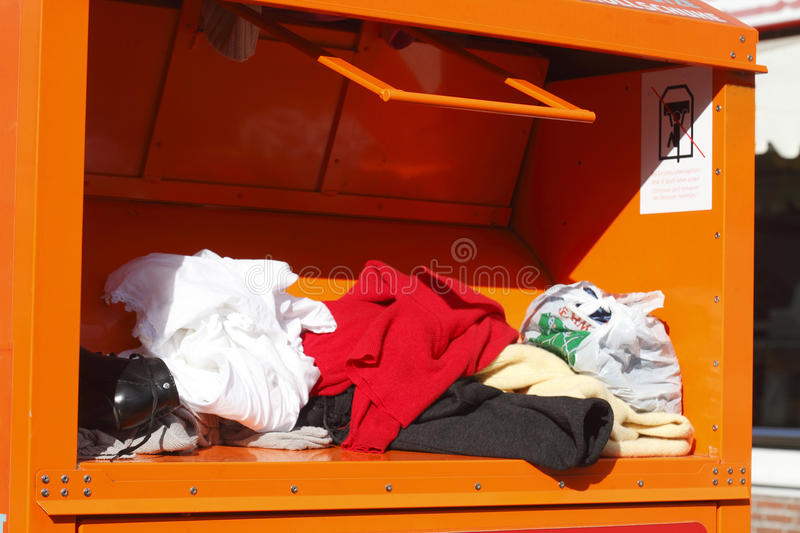 Old clothes collection, Container stock images