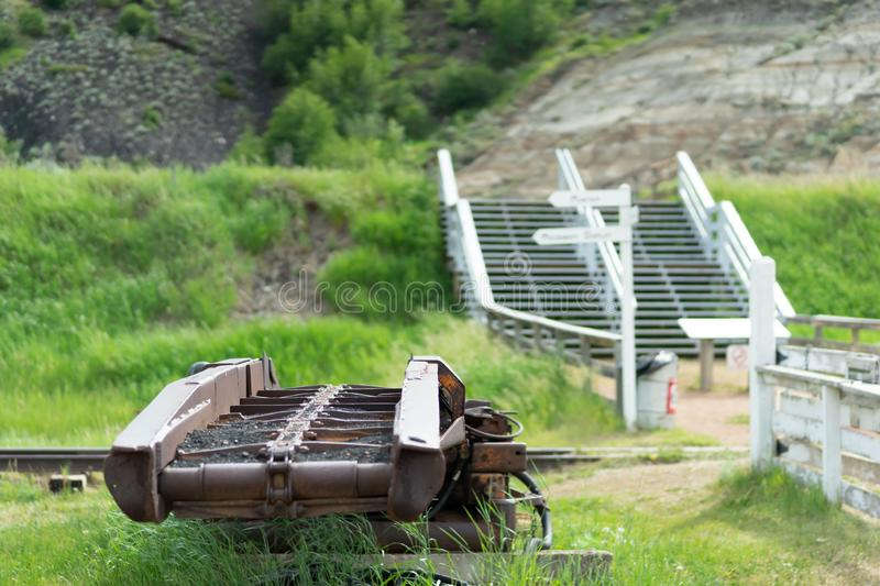 Old coal minning equipment rusting outside stock photo