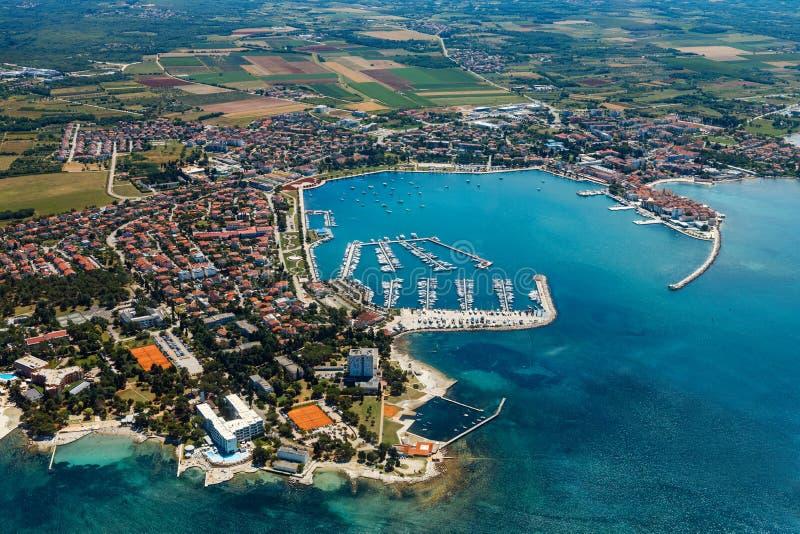 Old coastal city Umag in Croatia, aerial view. Istria, Europe. Old coastal city Umag in Croatia, aerial panoramic view. Istria, Europe royalty free stock image