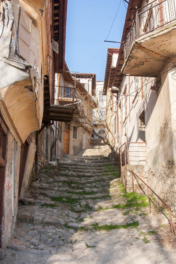 Old medieval street in Veliko Tarnovo, Bulgaria royalty free stock photos