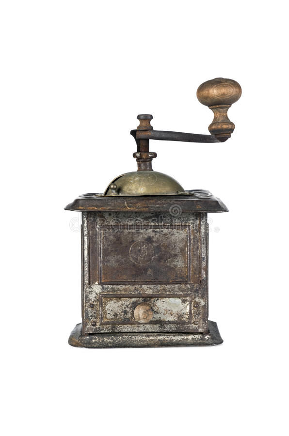 Old coffee grinder isolated stock photography