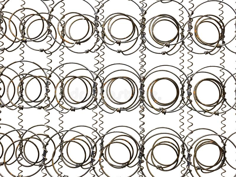 Bed Frame Springs Old antique. Old Coil Springs Bed Frame against a White background. Great Background antique royalty free stock photos