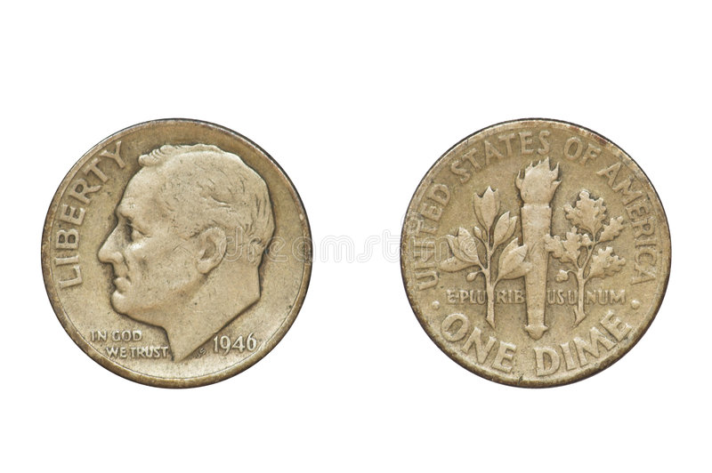 Old Coin, 1946, One Dime. Old coin produced in 1946 in USA - one dime, front and rear view - clipping path royalty free stock photos