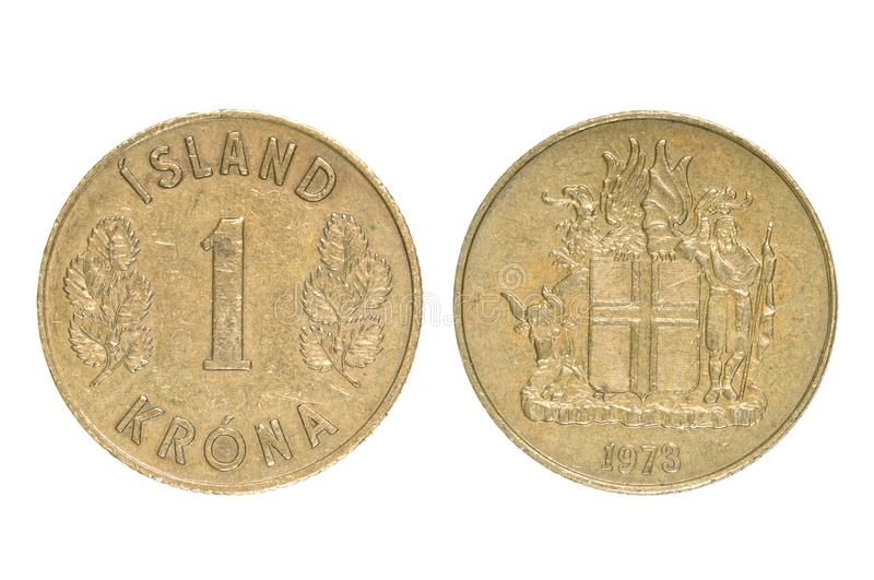 Old Coin of Iceland. stock photography