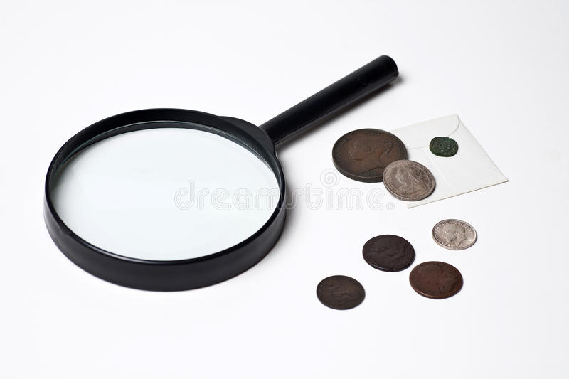 Download Old Coins And Magnifying Glass Stock Image - Image: 17941207