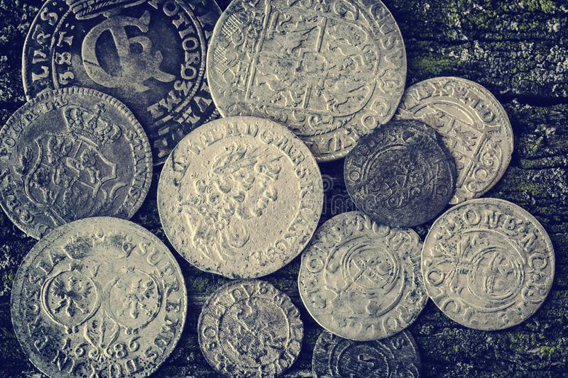 Old coins stock photography