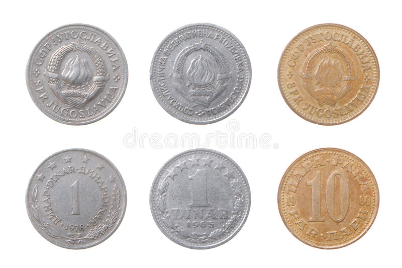 Old coins to Yugoslavia. Set of coins from different countries isolated on a white backgroun stock image