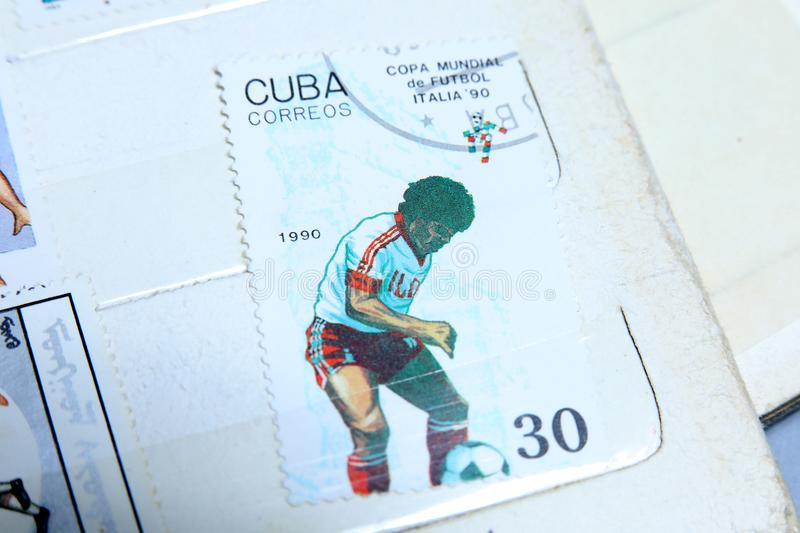Postage stamps, Football World Cup in Italy 1990 royalty free stock photos
