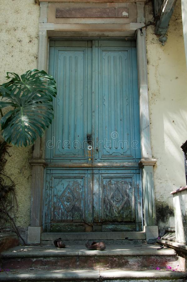 Old colonial  wooden door  in Guanajuato Mx stock photo