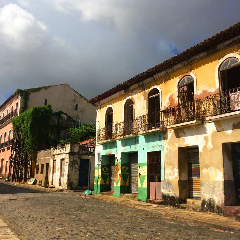 Old colorful houses in Sao Luis: Brazil royalty free stock image