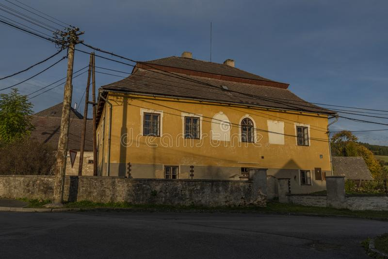 Old color building with blue sky in Besiny village in autumn evening. Old color building with blue sky in Besiny village in autumn color evening animal beautiful stock photography