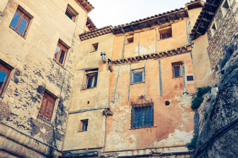 Old color houses facades in Cuenca, central Spain. Europe stock photography