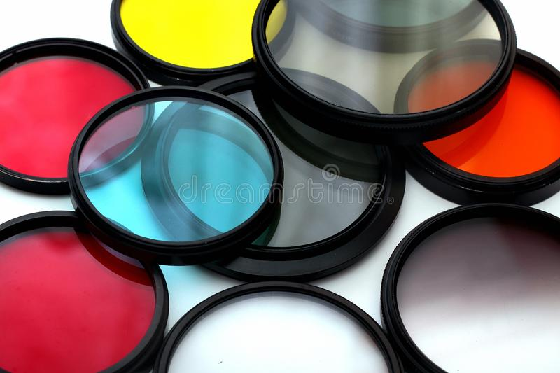 Old color photo filters on white background.  royalty free stock photos
