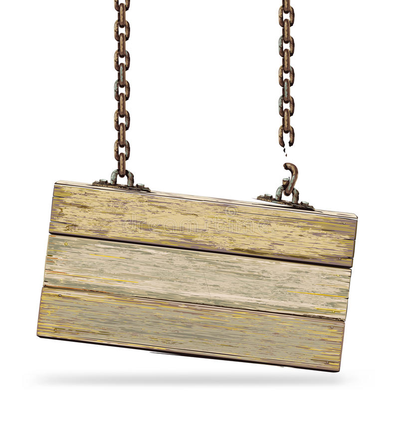 Old color wooden board with broken chain. Vector illustration royalty free illustration
