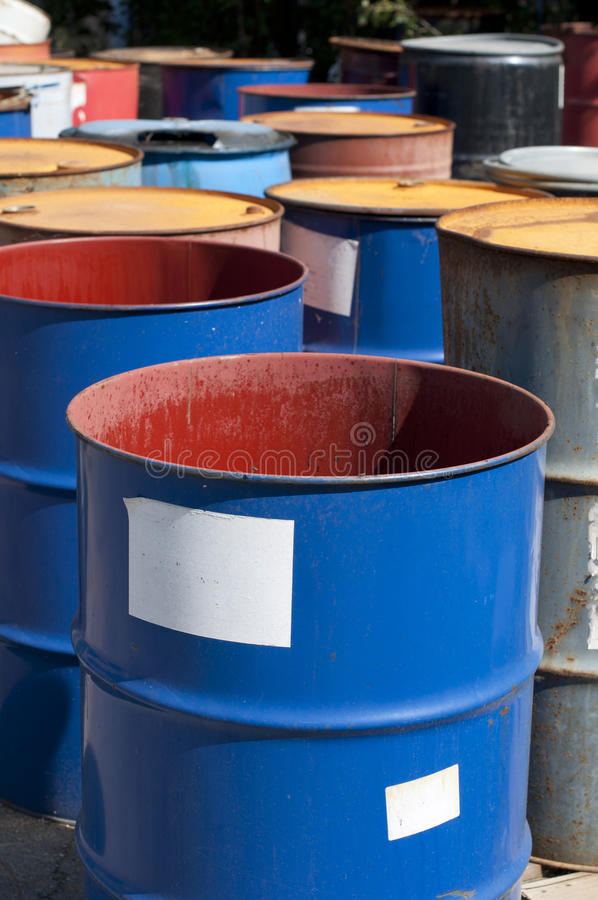 Old Colored Barrels For Oil Products Stock Images