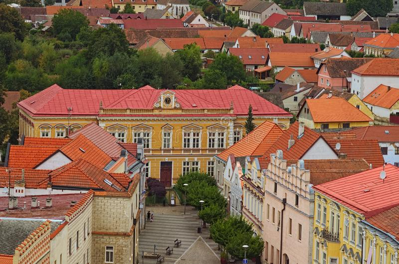 Old colorful buildings with red tile roofs. Scenic view of medieval Slavonice city in Czech Republic. Slavonice, Czech Republic.  royalty free stock photography